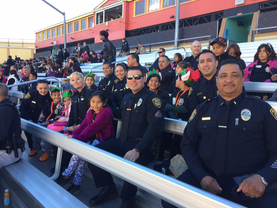 SDCCD officers sitting in bleachers