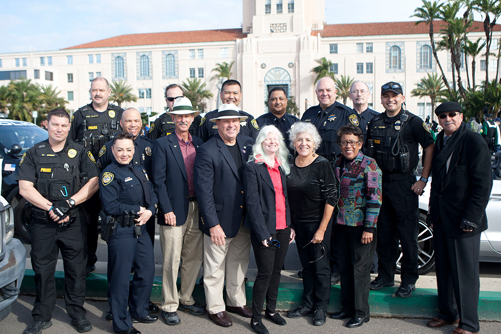 Police officers with the SDCCD board of trustees