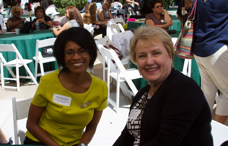 Stephanie Bulger and Bonnie Dowd at convocation