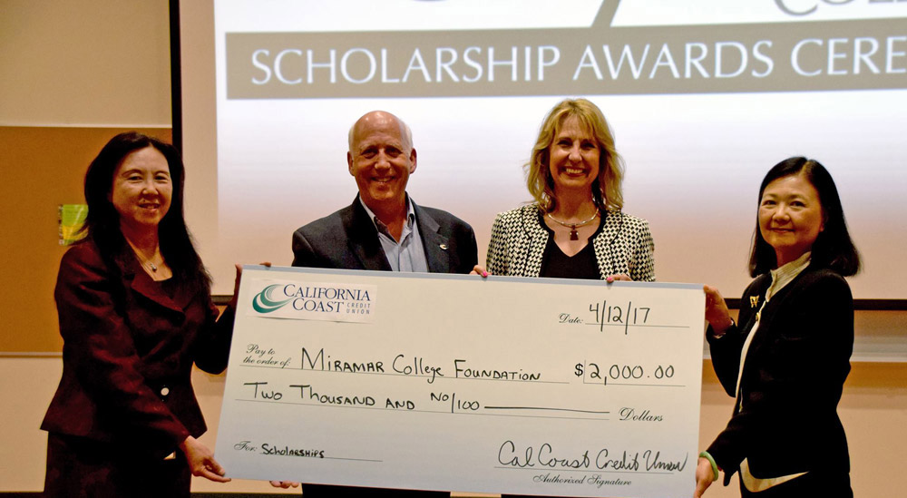 A Check donation to the Miramar College Foundation