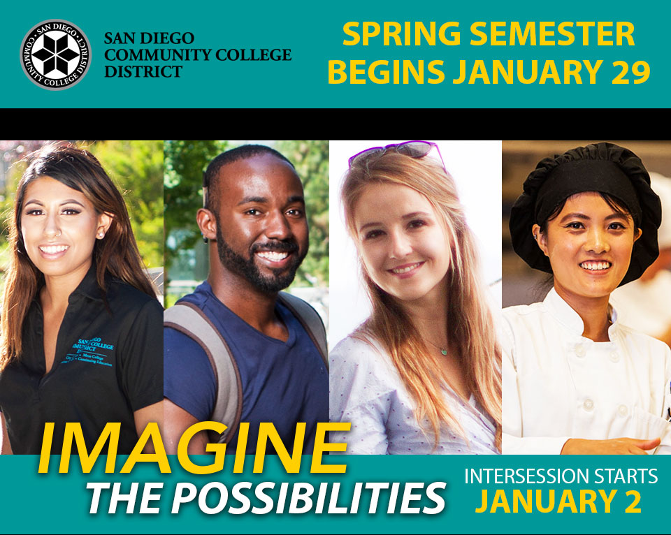 Four students promoting Imagine the Possiblities enrollment campaign