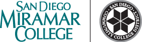 Miramar College name with black district seal to the right