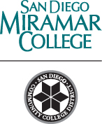 Miramar College name with black district seal below