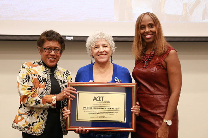SDCCD Chancellor Constance M. Carroll and SDCCD Board President Maria Nieto Senour are recognized by ACCT Board Chair Robin M. Smith at an Oct. 13 dinner event at San Diego City College.  The SDCCD is hosting the ACCT 2015 Leadership Congress Oct. 14-17.