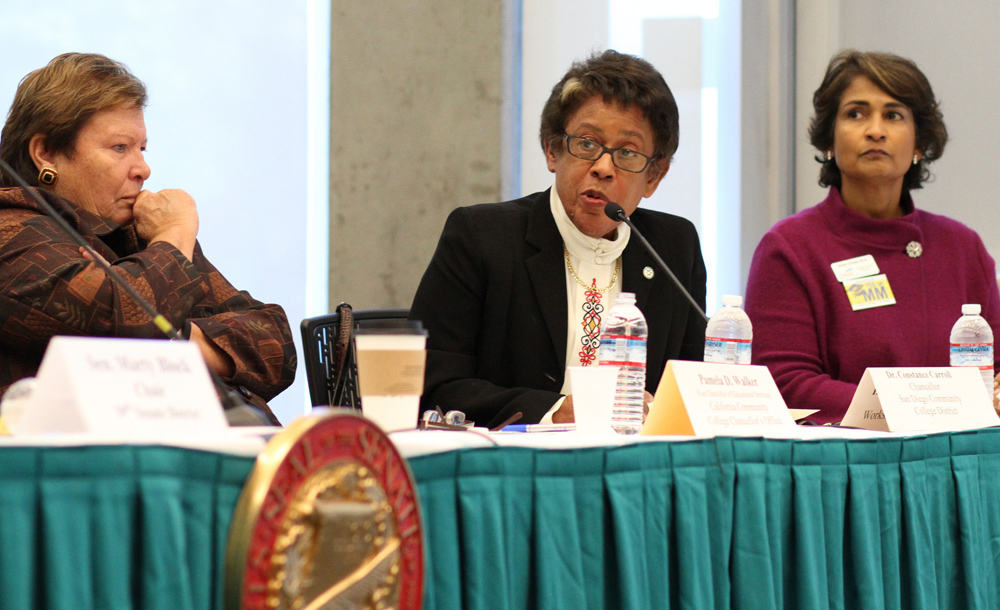Chancellor Constance M. Carroll speaks at the hearing on the baccalaureate pilot program
