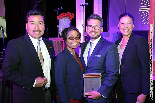 From left, Rafael Alvarez, MESA Program Director at San Diego City College; Toni Cordero; Barry Cordero, SDCC Alumnus and 2016 CCLC Distinguished Alumnus; Denise Whisenhunt, SDCC Interim President.