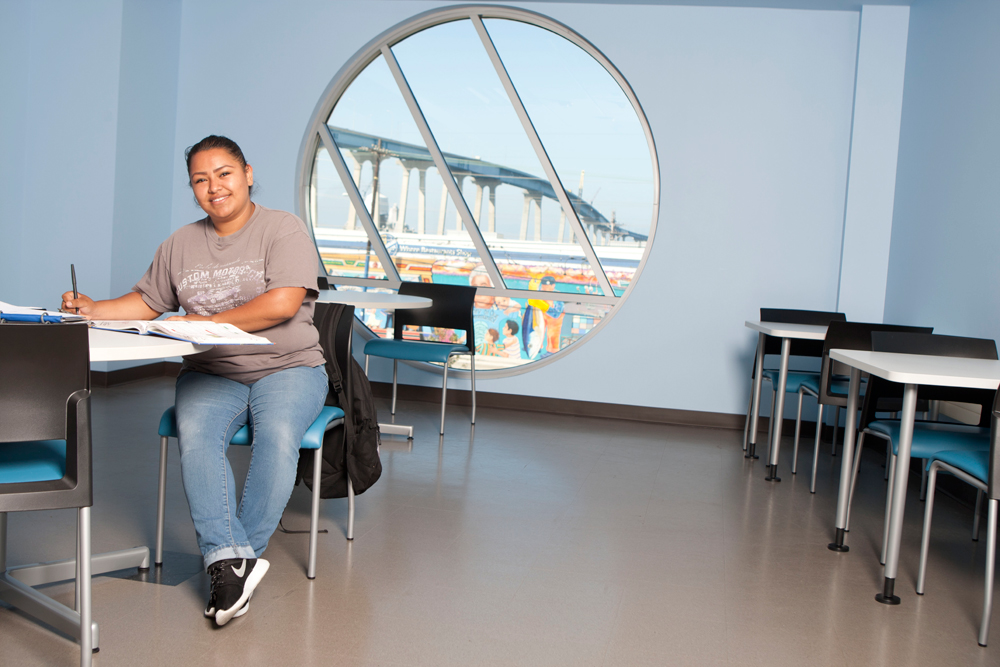 A student sits at a desk at San Diego Continuing Education