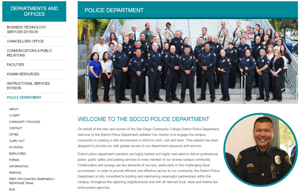 The Police Department landing page