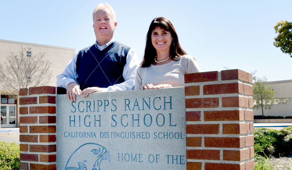 David Wilhelm, assistant professor of Business, and Ann Menna, principal at Scripps Ranch High School.