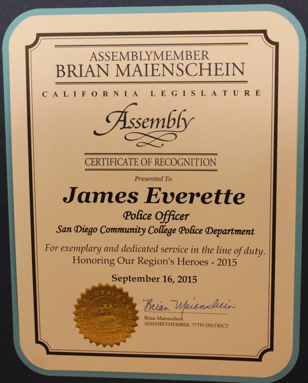 This is the award from the state assembly that was given to Officer James Everette
