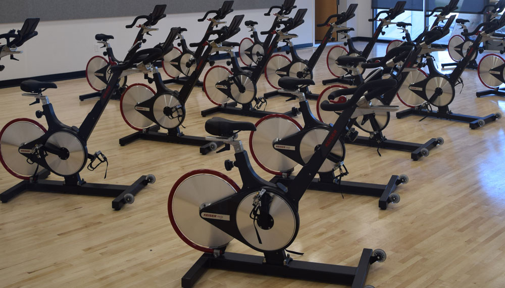 stationary bikes at the Mesa College fitness center