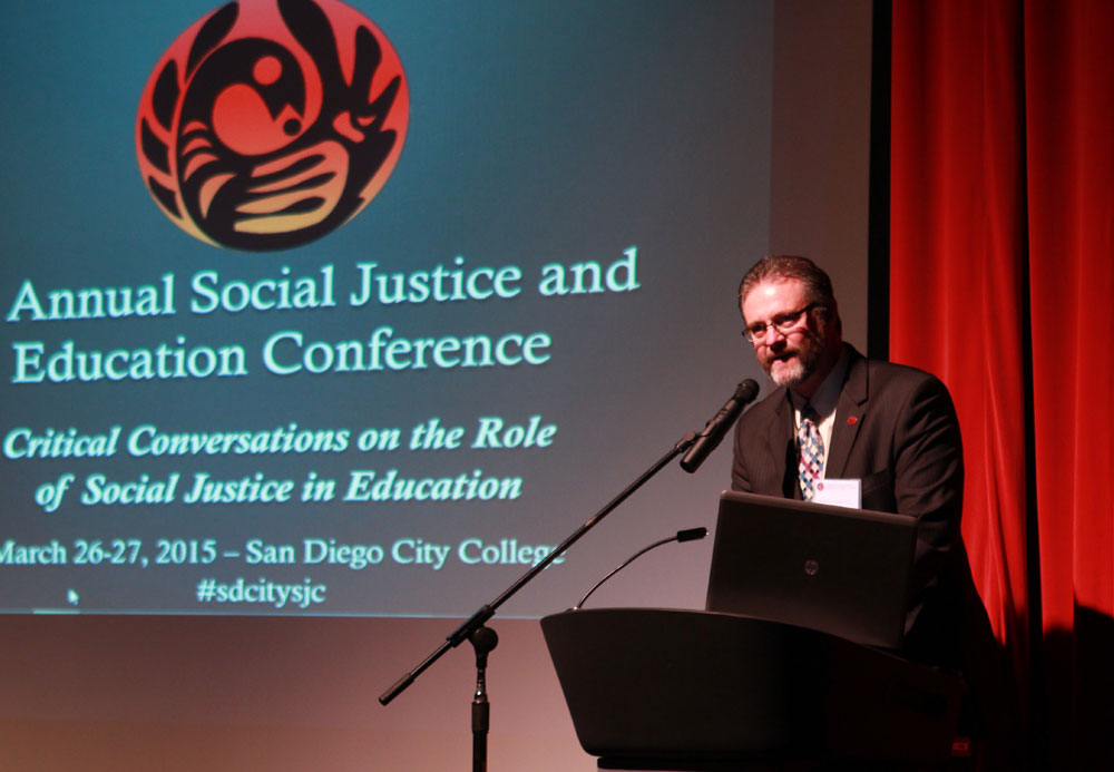 San Diego City College President Anthony Beebe speaks at the Social Justice and Education conference in 2015.