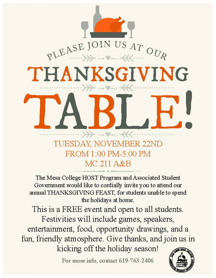 Mesa Thanksgiving feast flyer