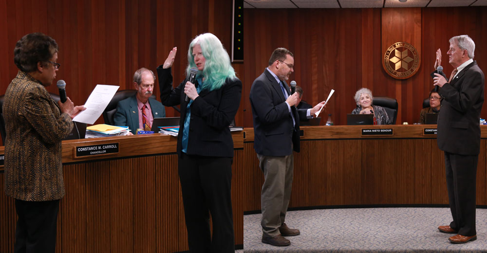 :  Bernie Rhinerson and Mary Graham are sworn in at tonight's SDCCD Board of Trustees meeting at the District Office in Mission Valley.