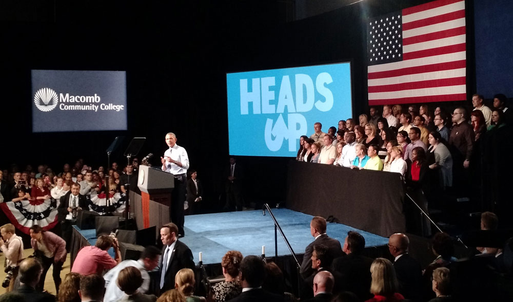 President Barack Obama speaks at Macomb Community College in Warren, Michigan, where he announced new steps to expand apprenticeships and a push to make community college free for responsible students.