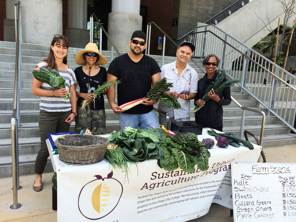 Students sell produce that came from the City College urban farm