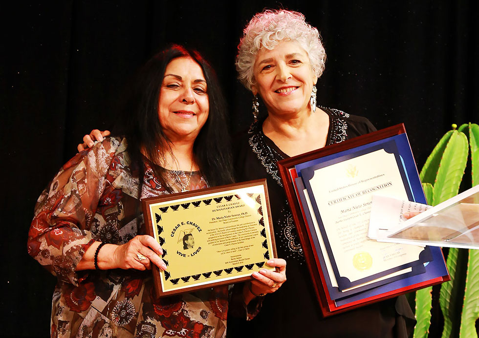 Barrio Station Founder and Executive Director Rachael Ortiz with SDCCD Board of Trustees President Maria Nieto Senour.
