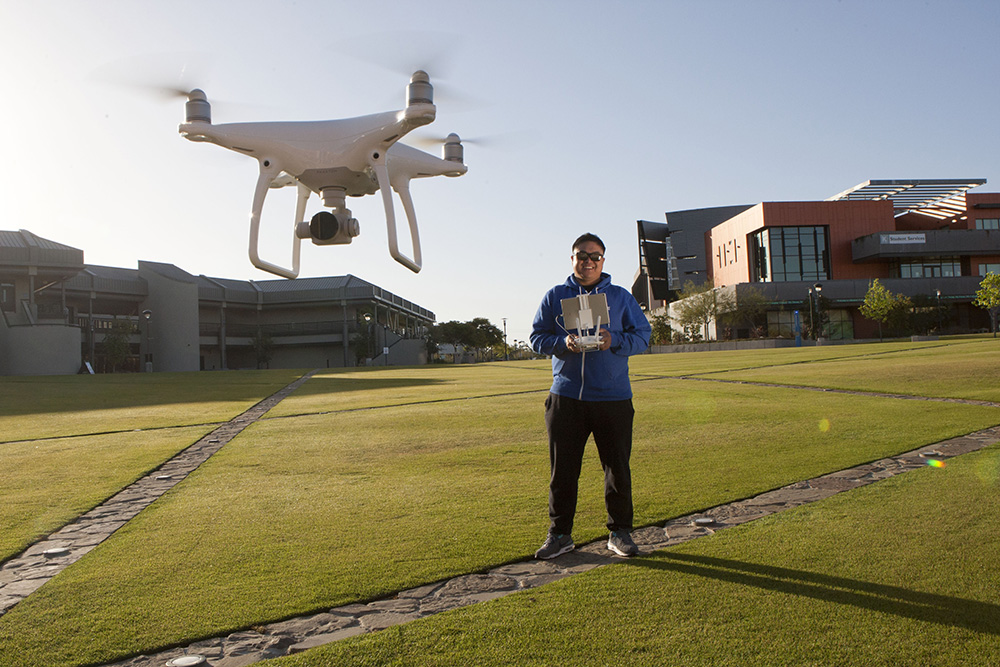 A drone takes off at Miramar College