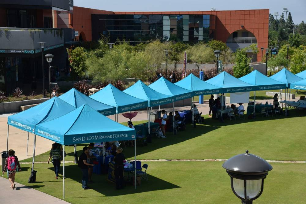 San Diego Miramar college tents are set up to welcome students during the first week of the fall semester