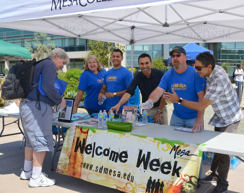 A welcome table at San Diego Mesa College