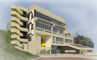 A sketch of the future fine arts building at mesa college