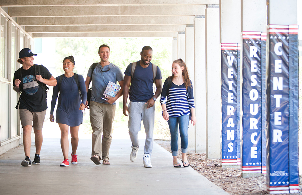 Five student veterans walking at San Diego Mesa College's Veterans Resource Center.