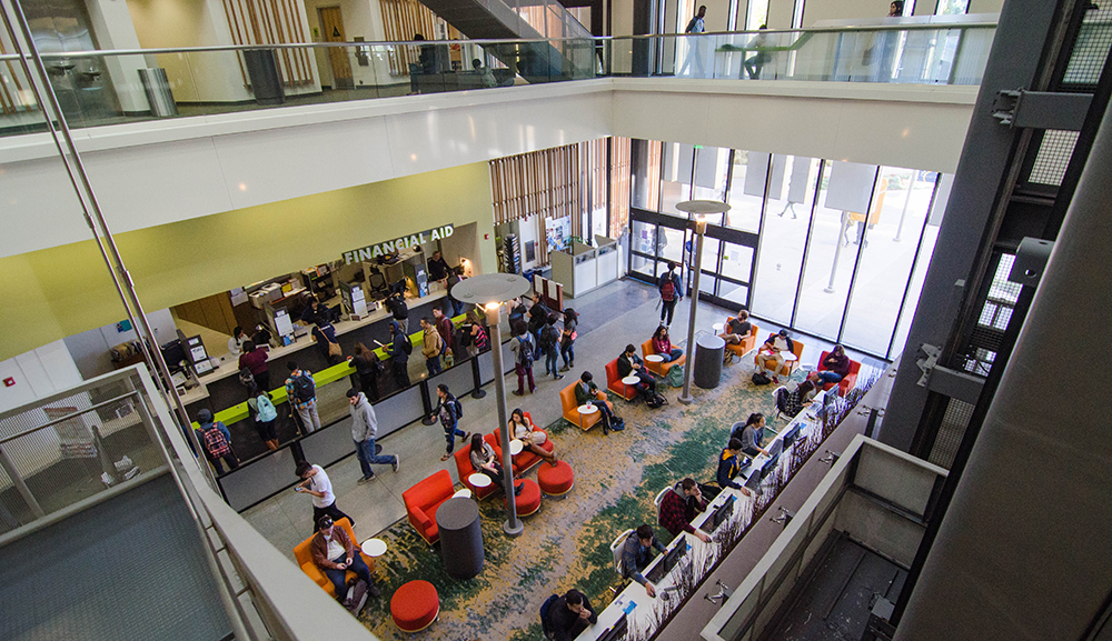 students in the student services center at mesa college