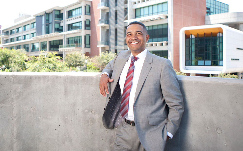 City College President Dr. Ricky Shabazz on campus
