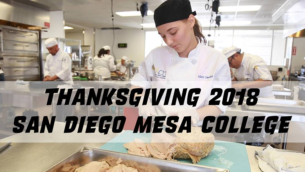 A culinary students helps prepare the thanksgiving feast at Mesa College
