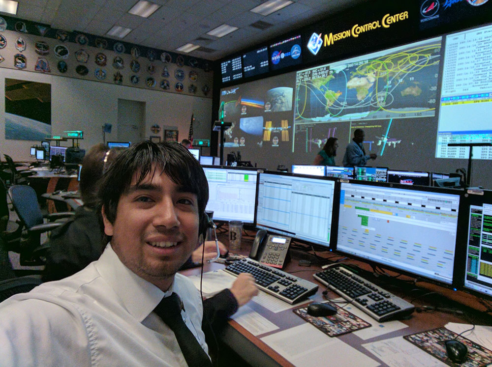Sergio Sandoval at his desk at NASA