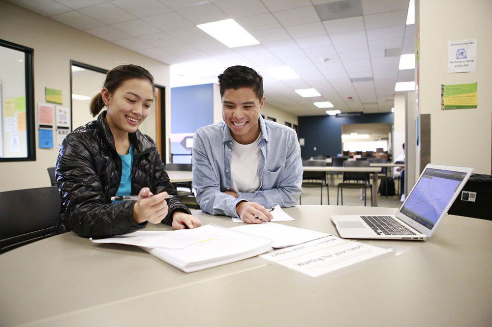 two students study at the Miramar College academic success center