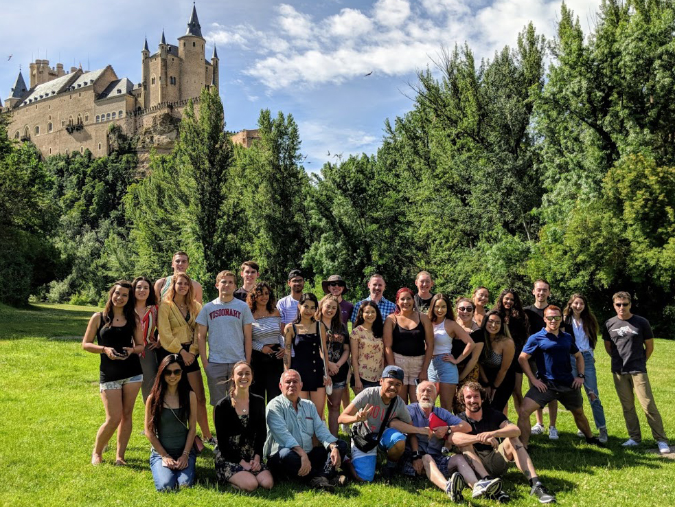 Allison Tjan with her group in front of the Alcazar de Segovia in Spain.