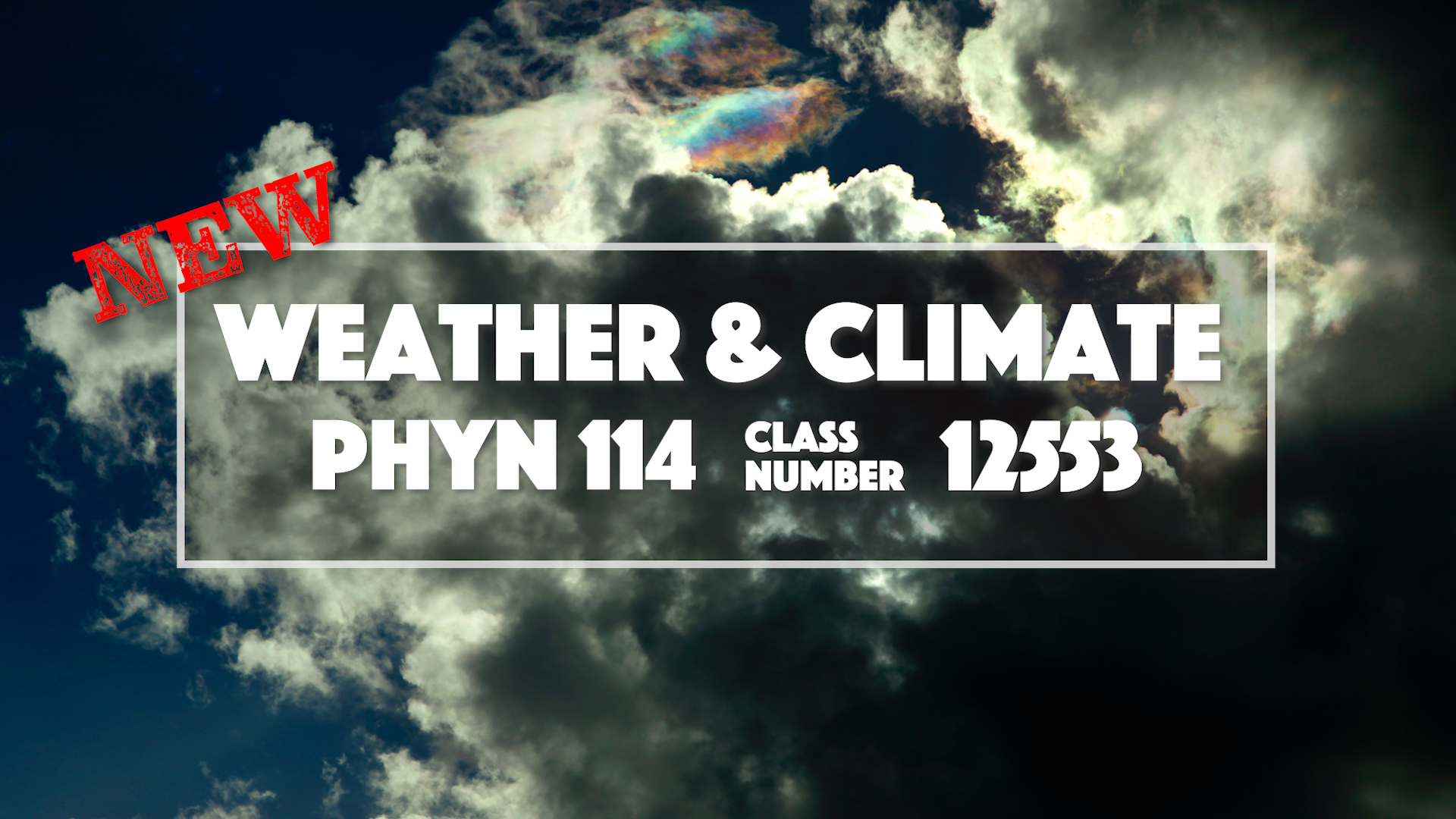 New Weather and Climate class at Miramar College