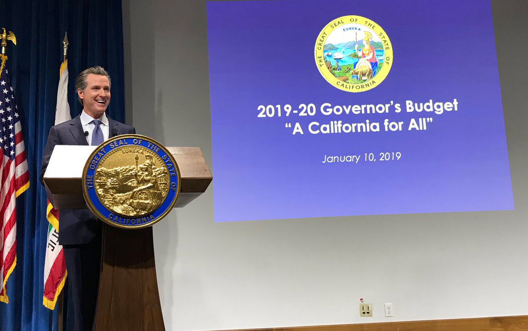 California Governor Gavin Newsom at the budget press conference