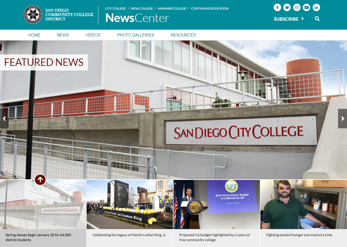 An image of the newscenter homepage