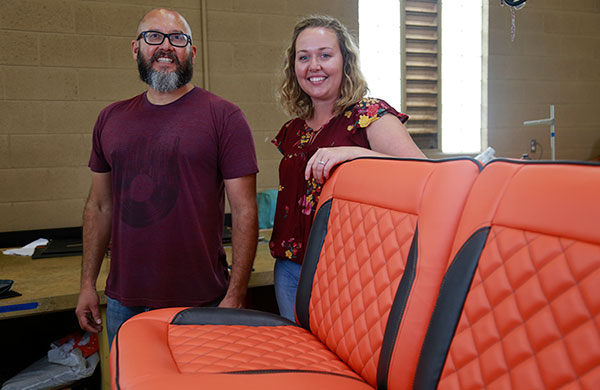 Juan Rodriguez and Jennifer Prewer enrolled in the Auto Upholstery Program so that they could re-upholster seats for their 1965 Ford Ranchero.