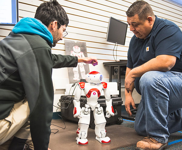 Robots are used as part of the Bakersfield College Industrial Automation baccalaureate program.