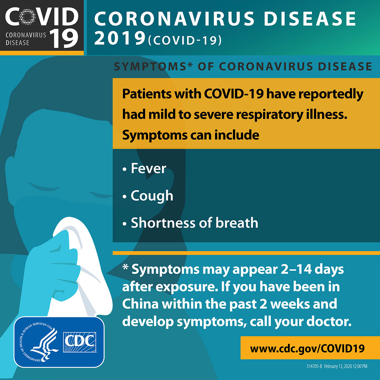 Coronavirus infographic: Cover cough, wash hands, know symptoms.