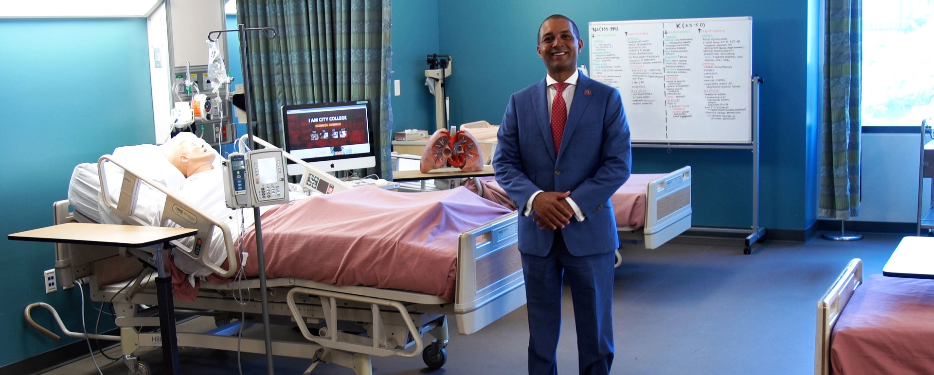 San Diego City College President Ricky Shabazz in a medical training room.