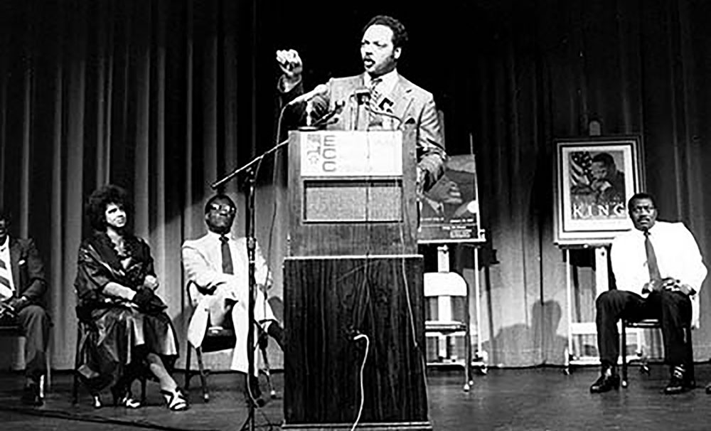 The Reverand Jesse Jackson speaks at the ECC in 1987