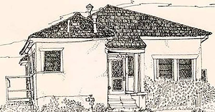 A sketch of an adobe-style cottage