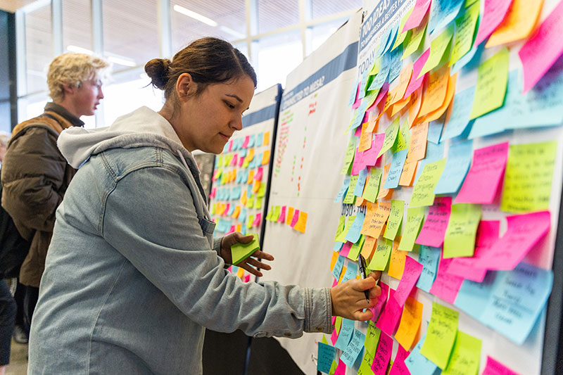 A board full of suggestions on post-it notes for the master plan