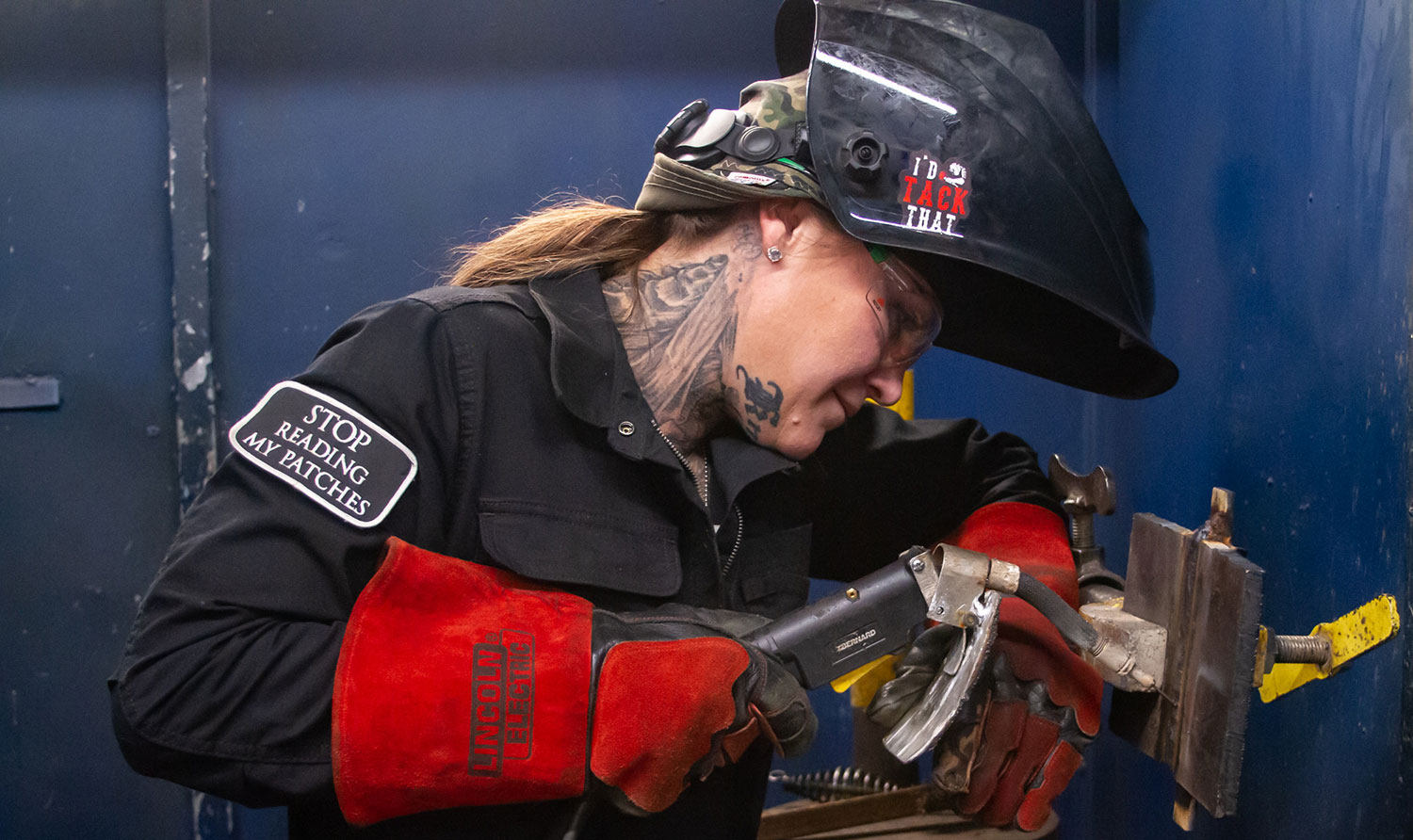 Sharla Knight completes welding project at San Diego Continuing Education