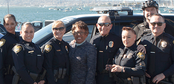 Officers with Chancellor Constance Carroll